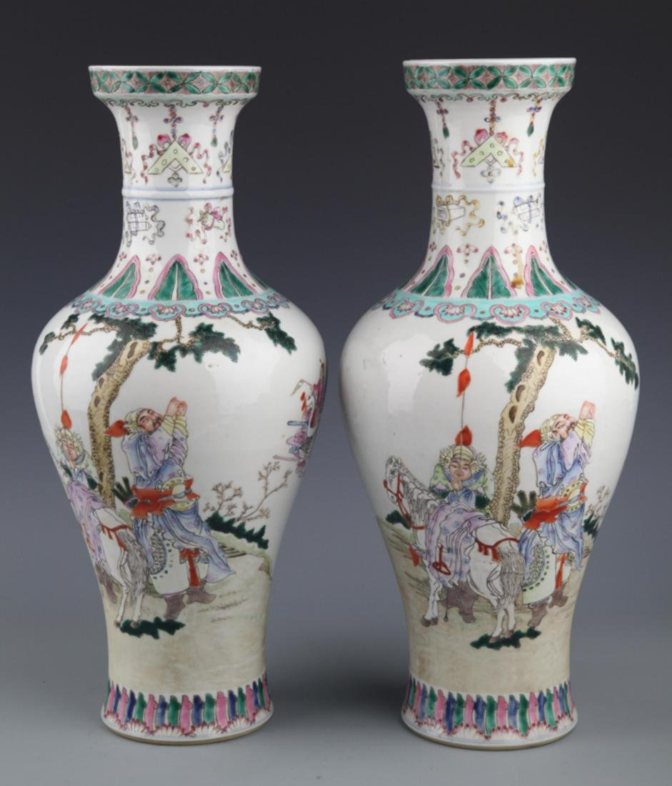 PAIR OF FAMILLE ROSE CHARACTER PAINTED BOTTLE
