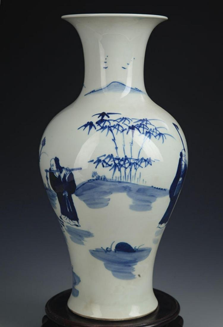 A BLUE AND WHITE STORY PAINTED GUAN YIN VASE - 5