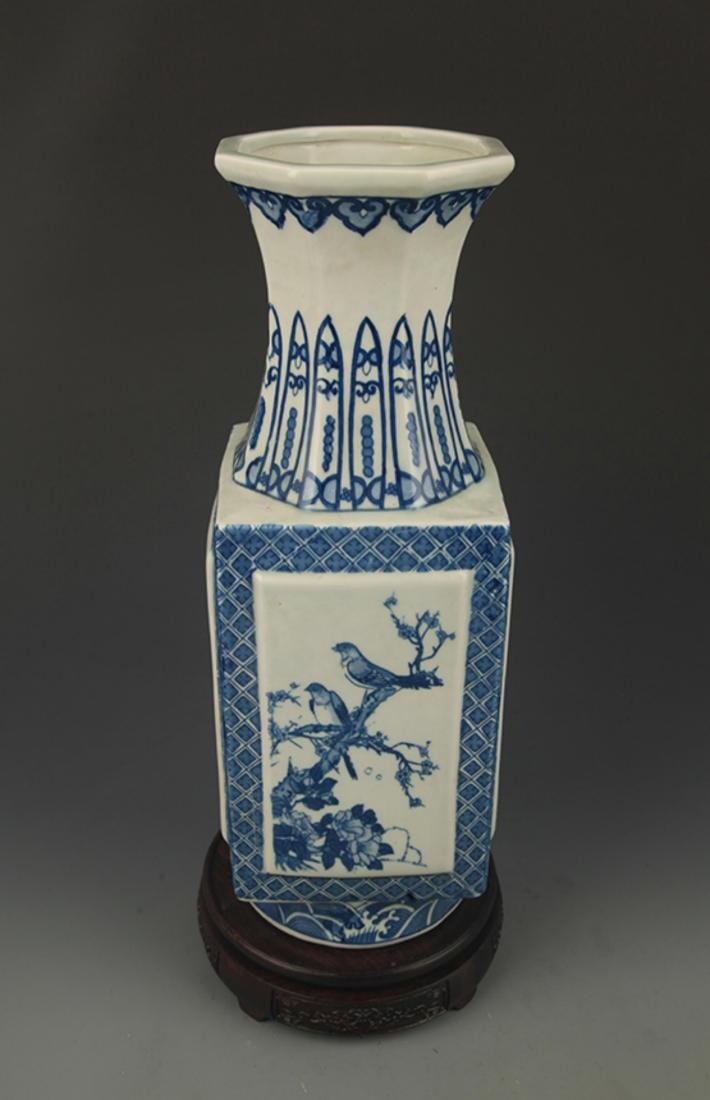 BLUE AND WHITE  LANDSCAPE PAINTED SQUARE VASE