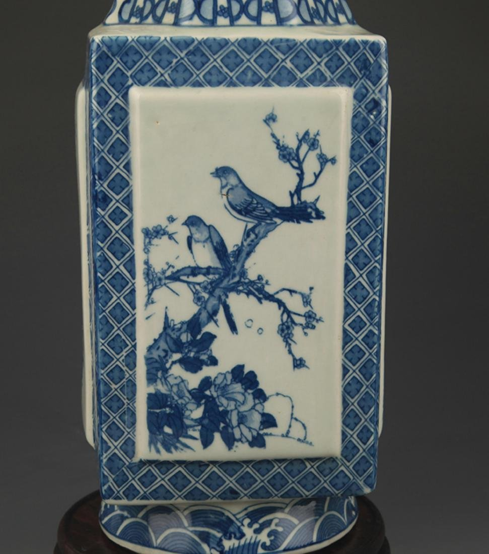 BLUE AND WHITE  LANDSCAPE PAINTED SQUARE VASE - 3