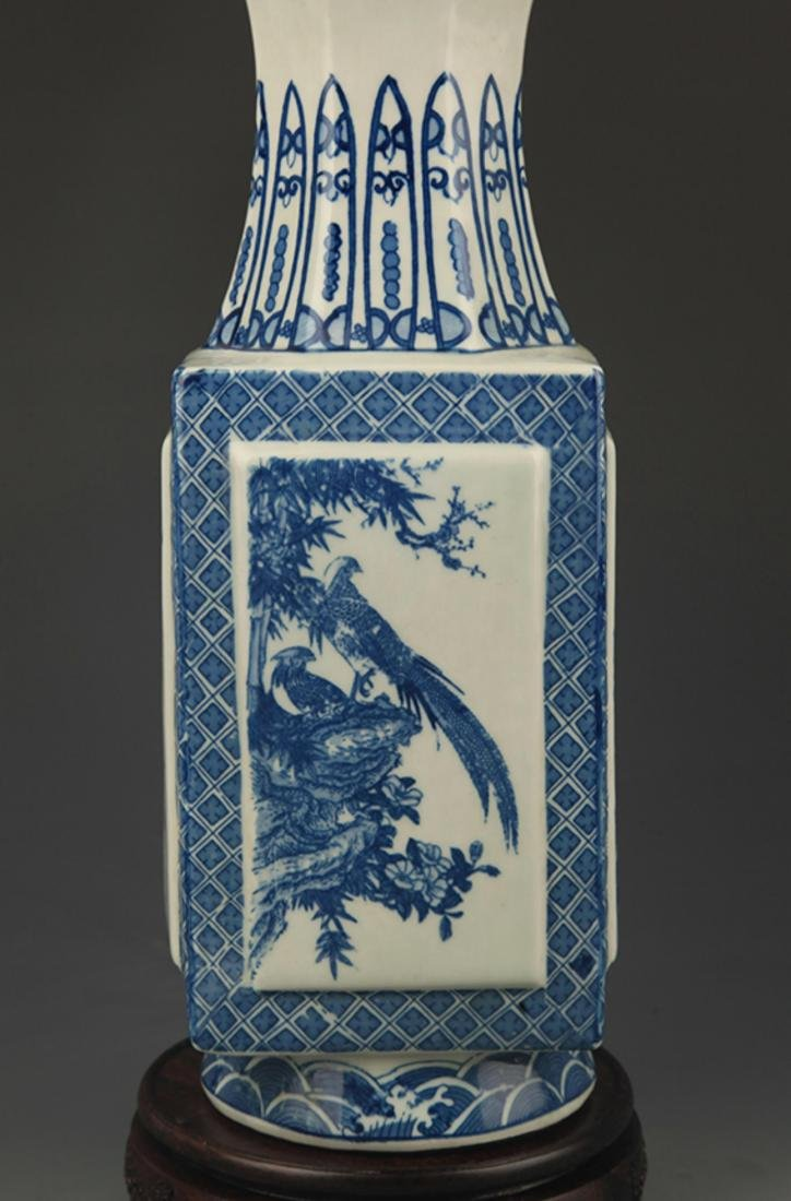 BLUE AND WHITE  LANDSCAPE PAINTED SQUARE VASE - 4