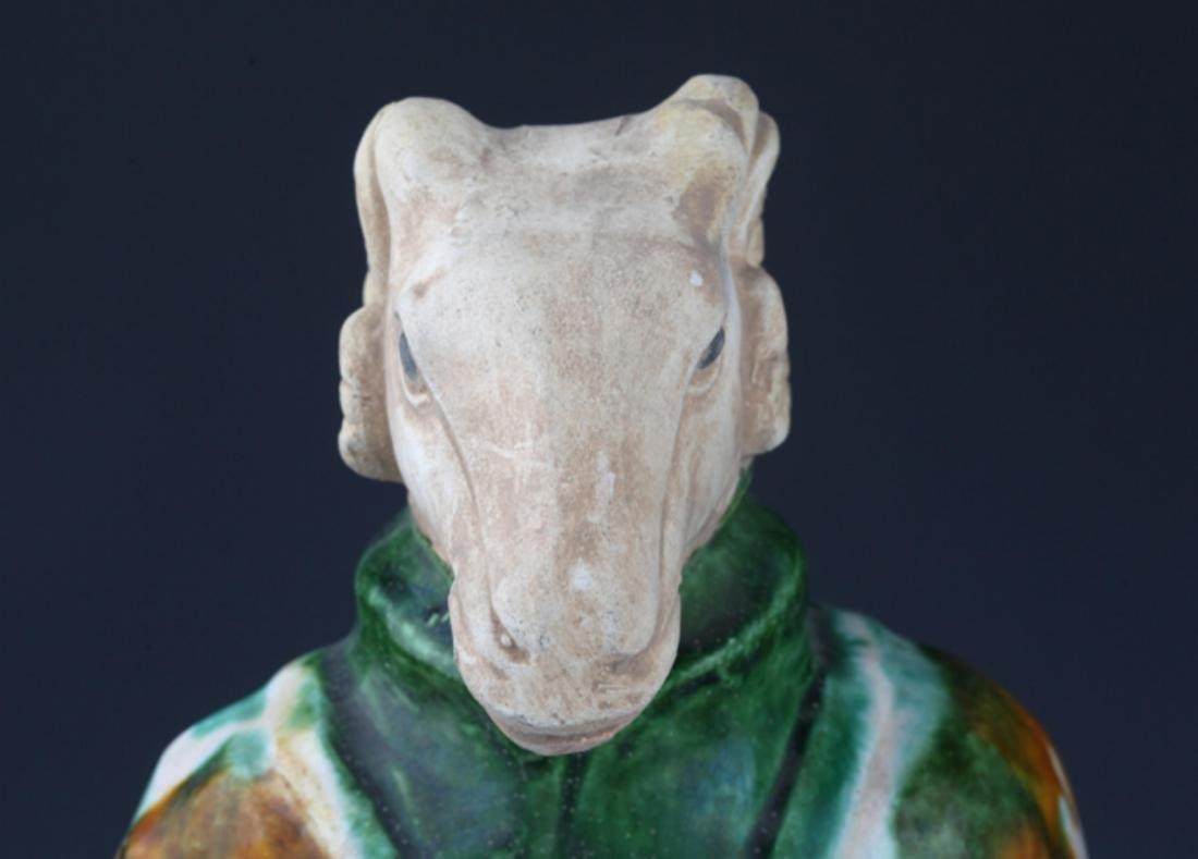 A TALL SAN CAI COLOR SHEEP HEAD FIGURE - 2