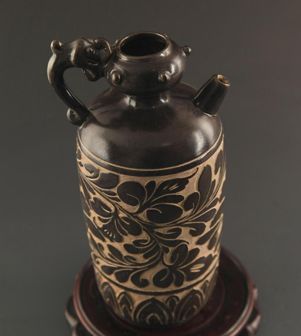 CI ZHOU YAO BLACK GLAZED HANDLED EWER - 2
