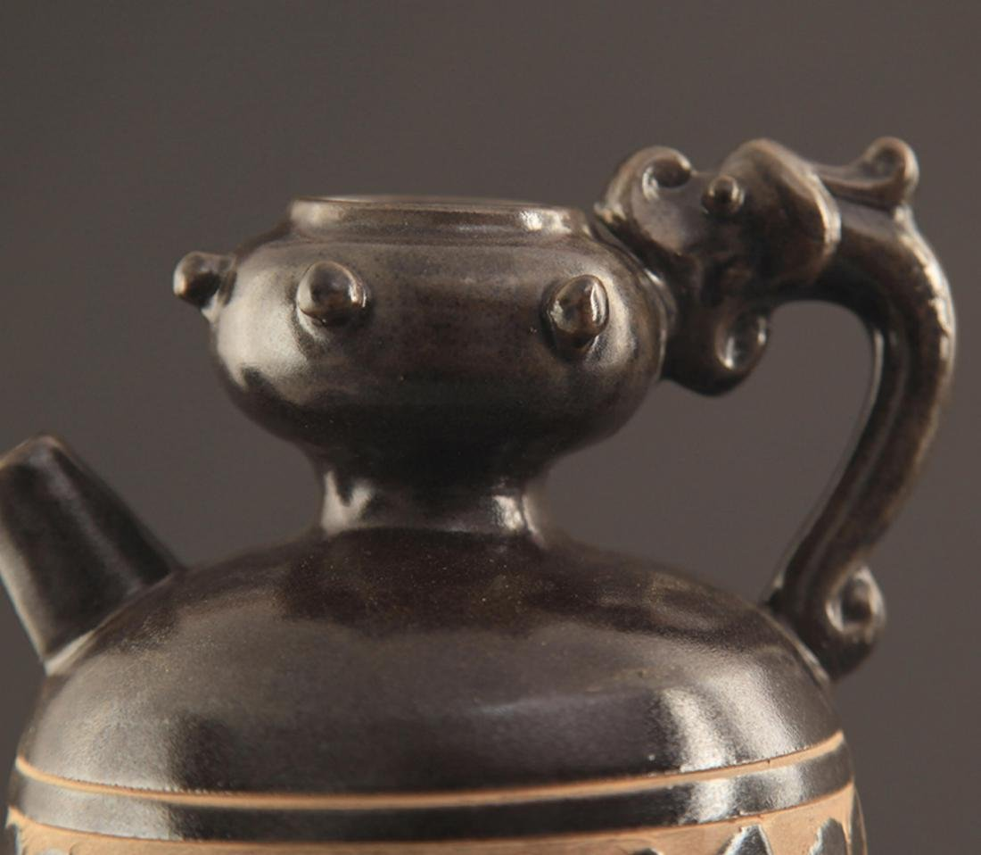 CI ZHOU YAO BLACK GLAZED HANDLED EWER - 4