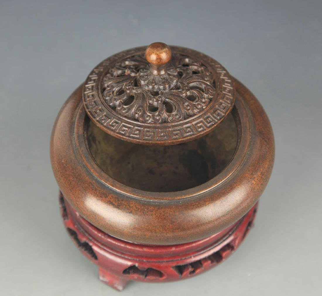 BRONZE AROMATHERAPY IN EARTHENWARE BASIN STYLE - 5