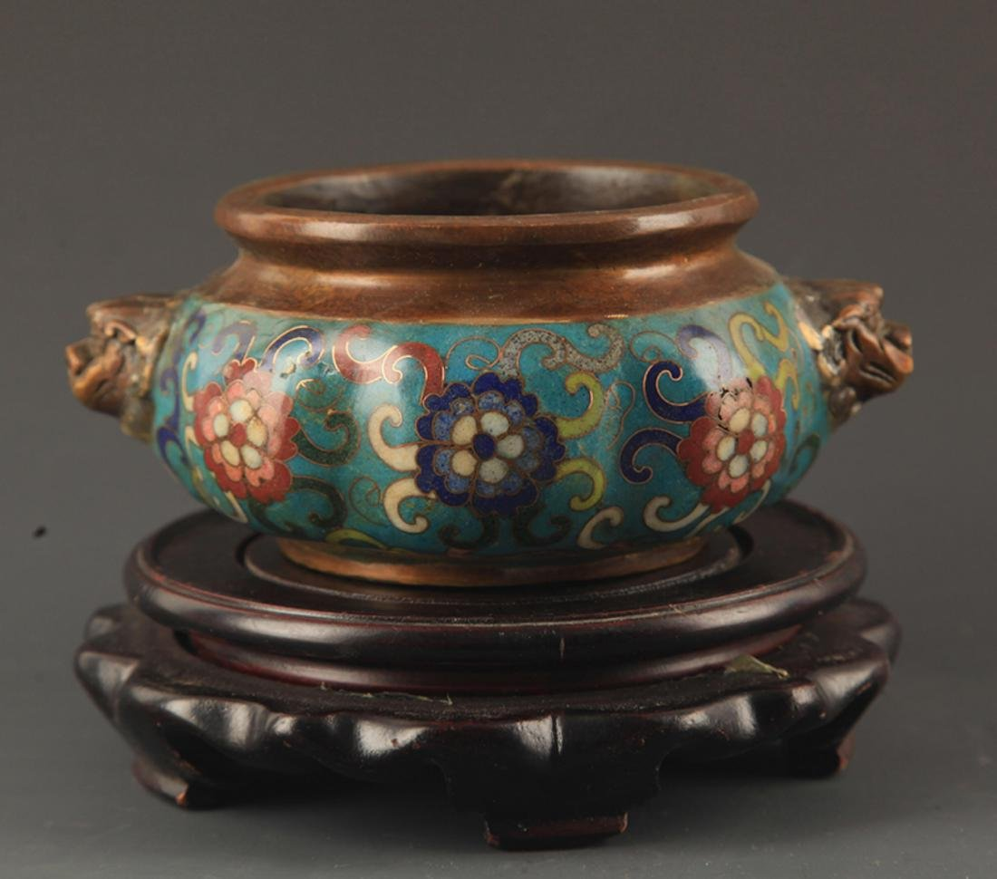 A BRONZE CLOISONNE ENAMEL FLOWER CARVING CENSER
