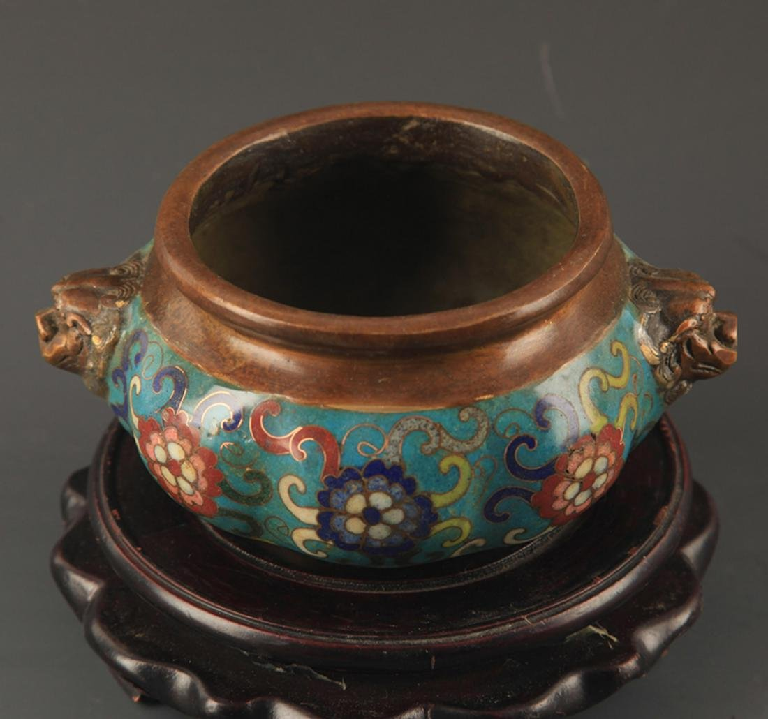 A BRONZE CLOISONNE ENAMEL FLOWER CARVING CENSER - 2