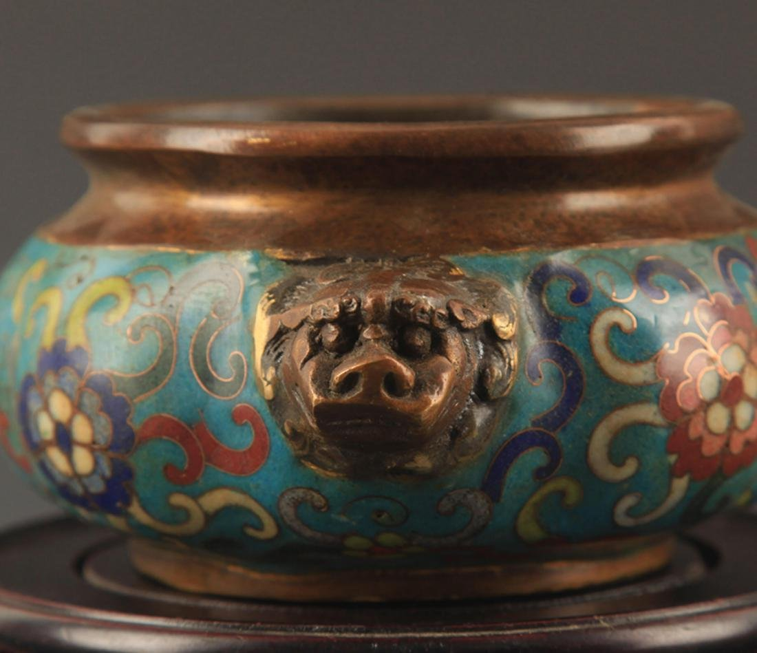 A BRONZE CLOISONNE ENAMEL FLOWER CARVING CENSER - 3