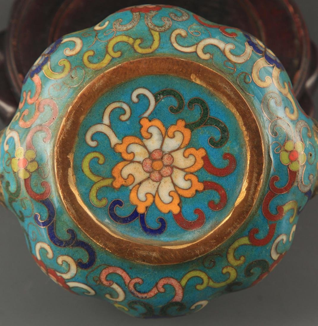 A BRONZE CLOISONNE ENAMEL FLOWER CARVING CENSER - 4