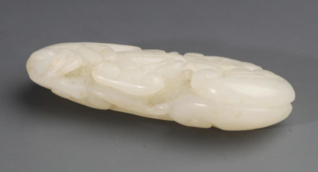 A FINELY GANODERMA CARVING WHITE JADE PENDANT - 3
