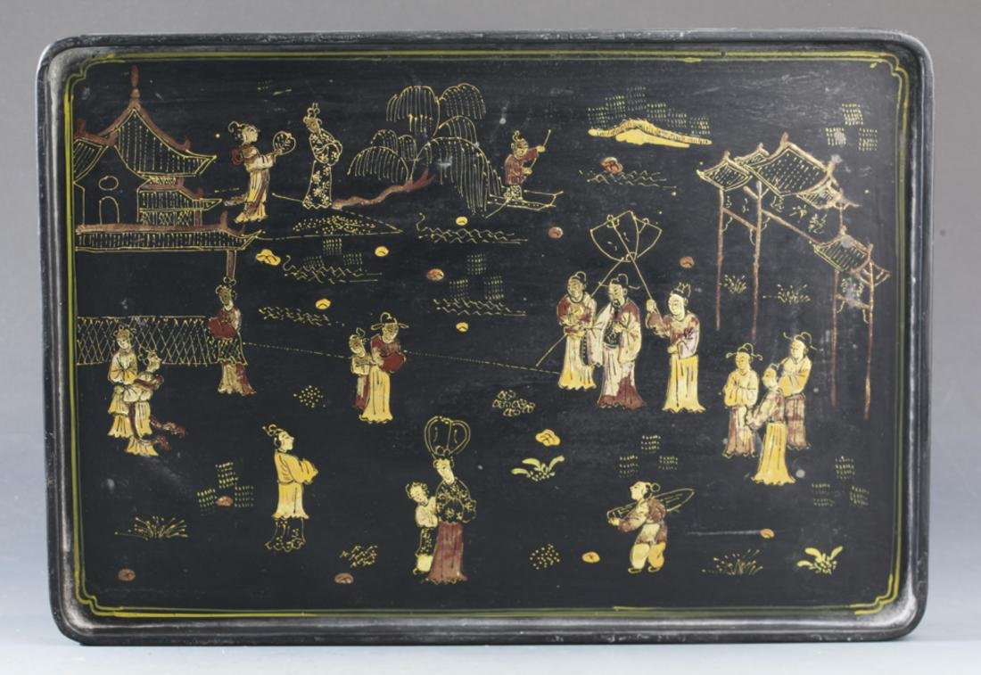 """A GILT-LACQUERED WOOD """"STORY """" PAINTING PLATE"""