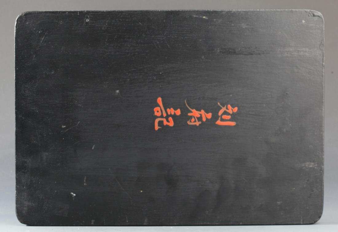 """A GILT-LACQUERED WOOD """"STORY """" PAINTING PLATE - 3"""