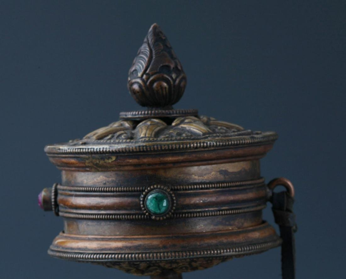 A FINE TIBETAN BUDDHISM PRAYER WHEEL - 2