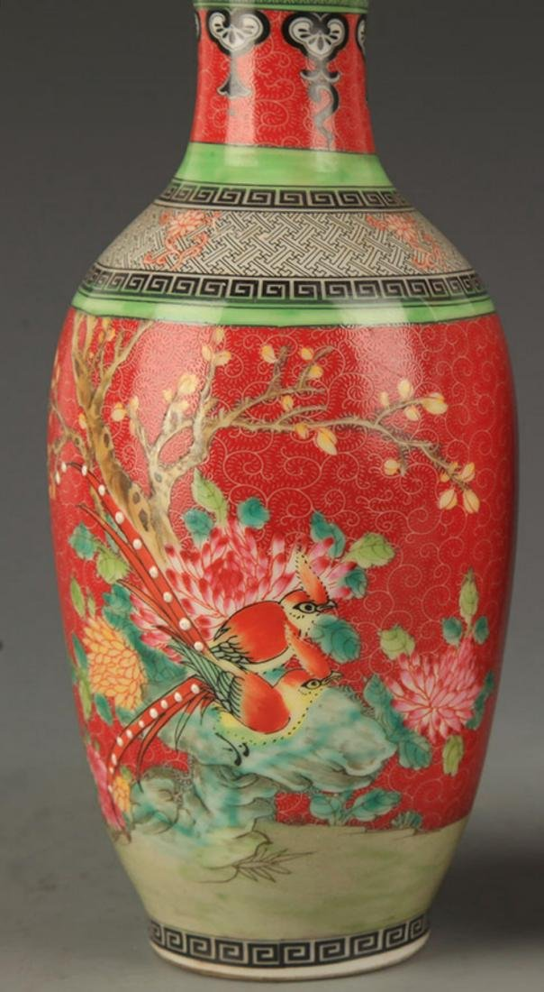 A FAMILLE ROSE PEONY PATTERN DECORATIONAL VASE - 3