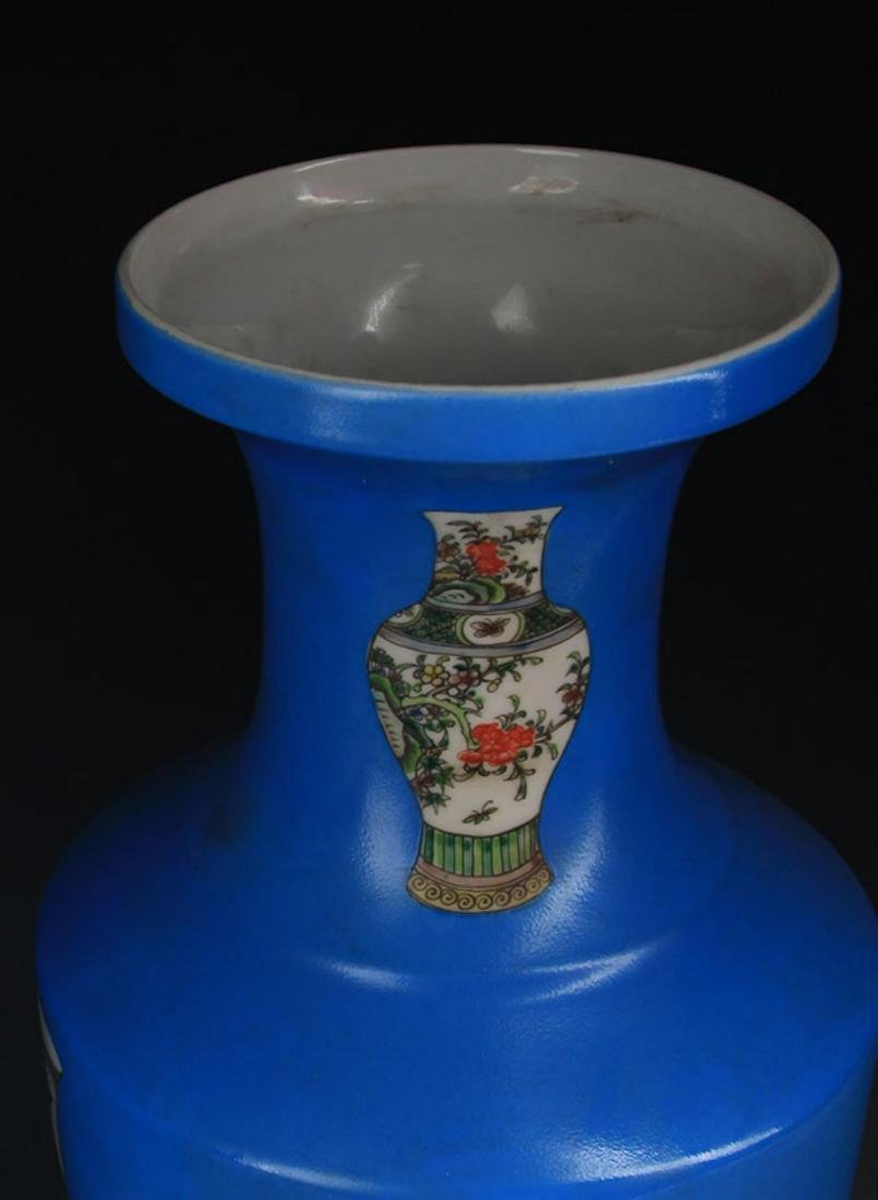 A BLUE GROUND FAMILLE ROSE PORCELAIN VASE - 2
