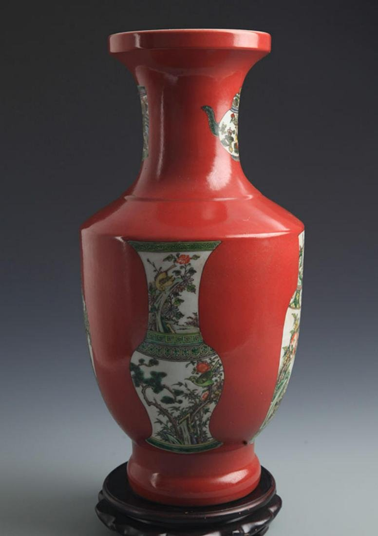A CORAL RED GROUND FAMILLE VERTE PORCELAIN VASE