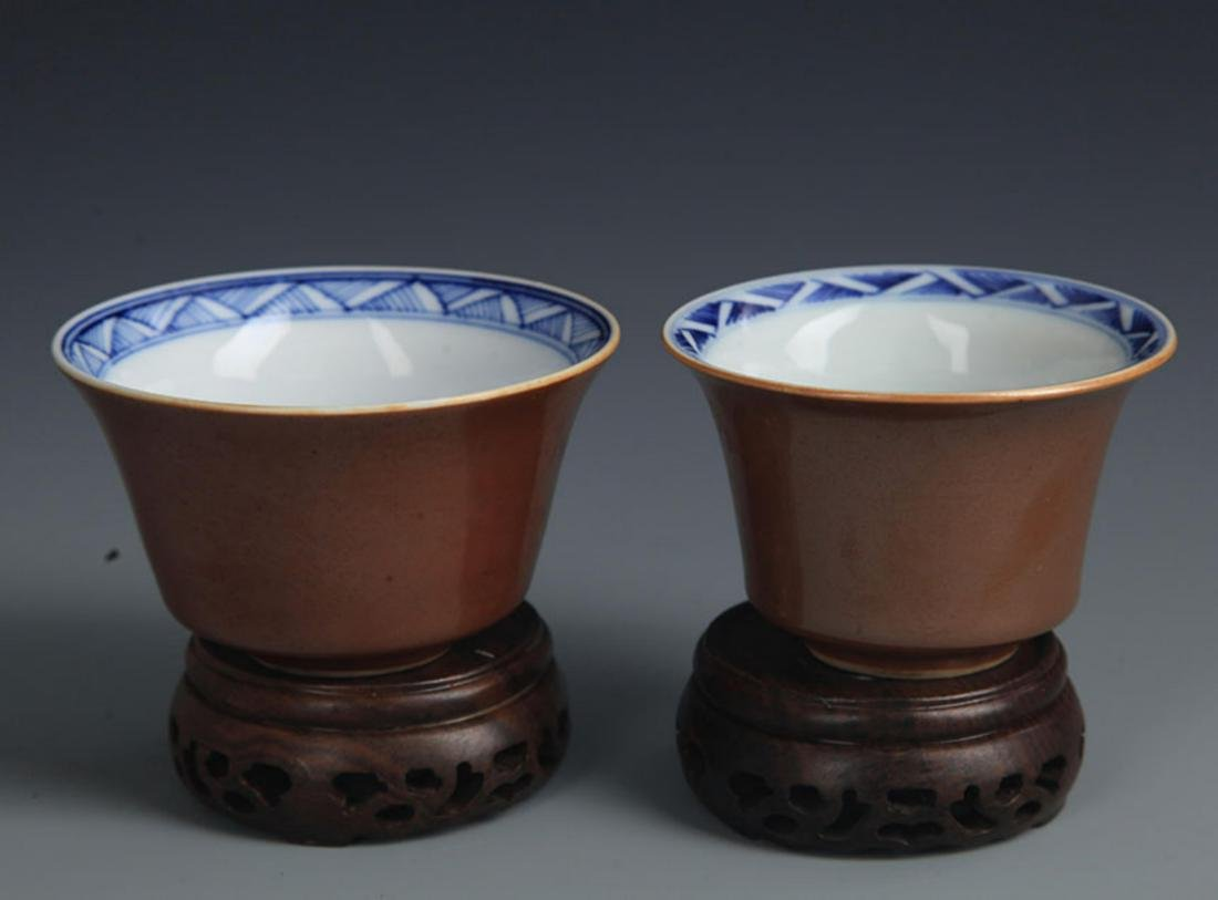 BEAN SAUCE COLOR BLUE AND WHITE  LANDSCAPE CUP