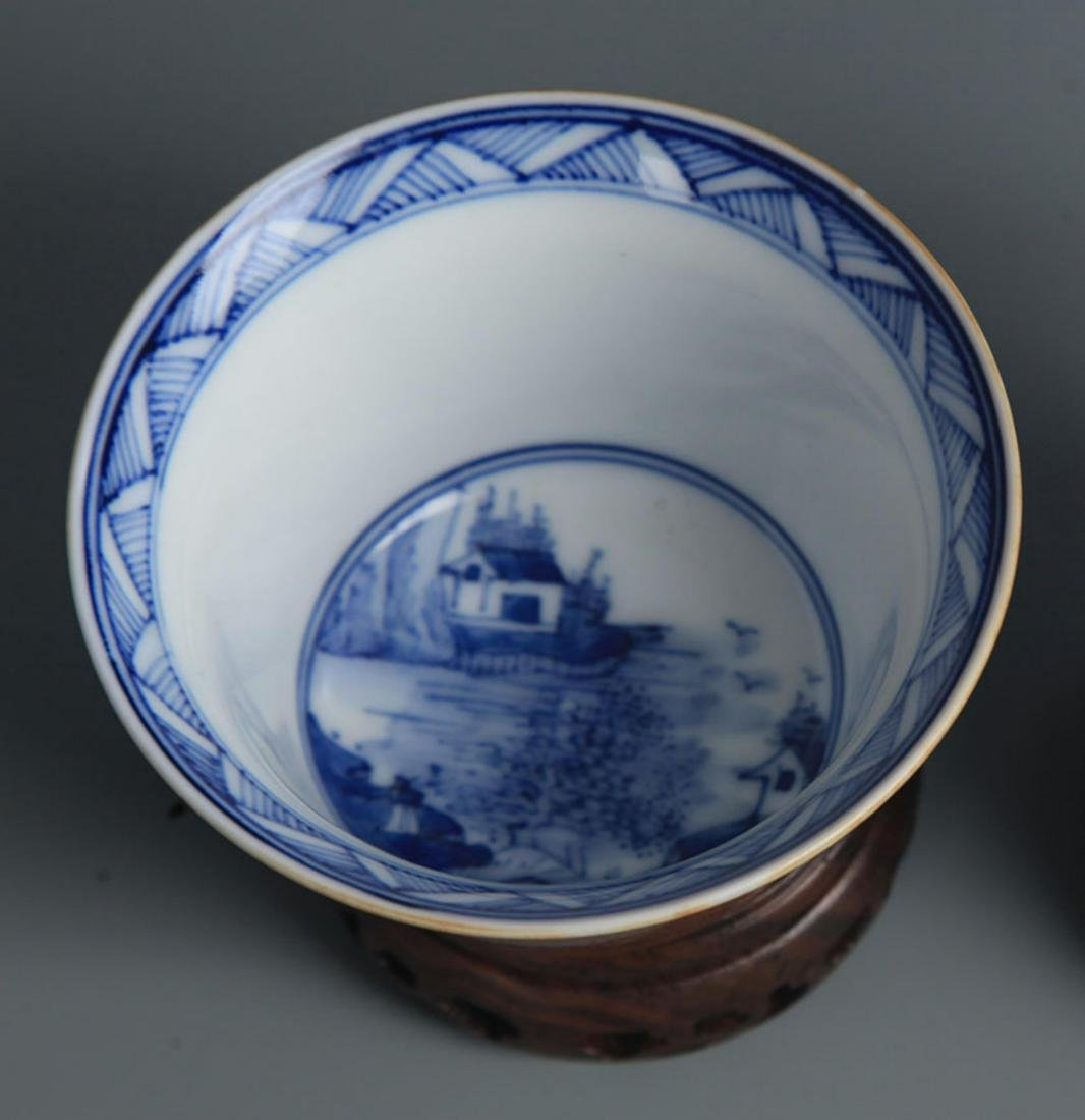 BEAN SAUCE COLOR BLUE AND WHITE  LANDSCAPE CUP - 2