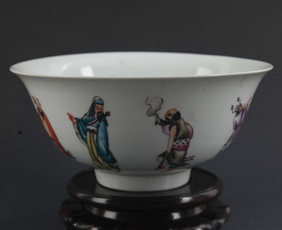 A FAMILLE ROSE THE EIGHT IMMORTALS BOWL - 4