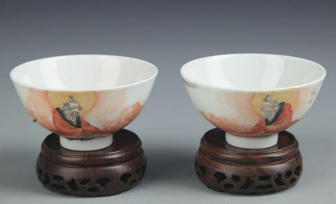 PAIR OF FAMILLE ROSE BUDDHA PAINTED PORCELAIN CUP