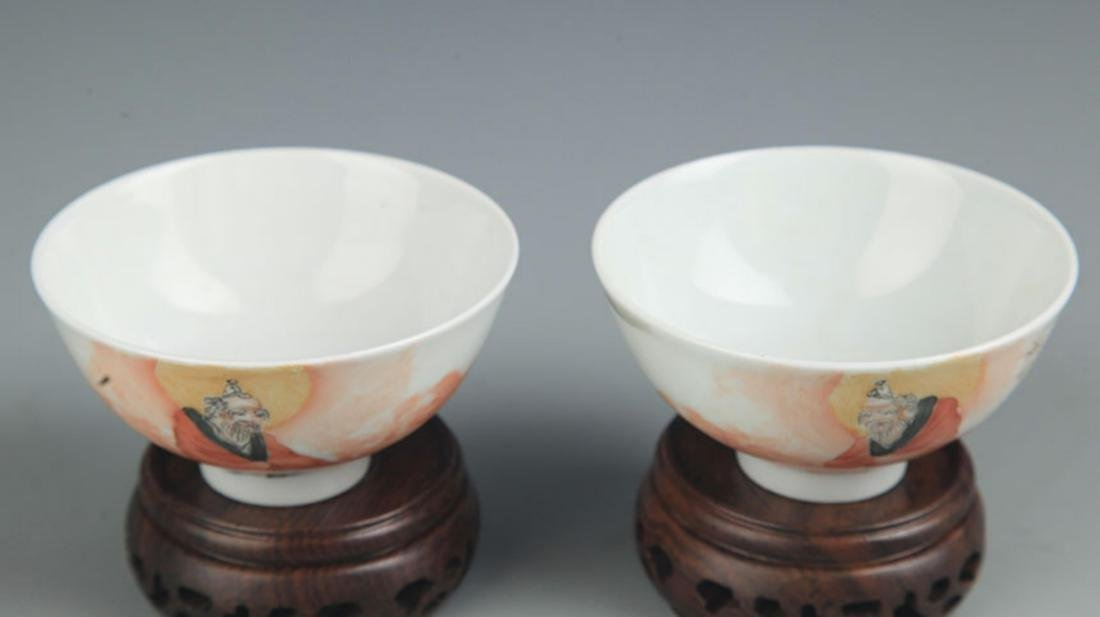 PAIR OF FAMILLE ROSE BUDDHA PAINTED PORCELAIN CUP - 2