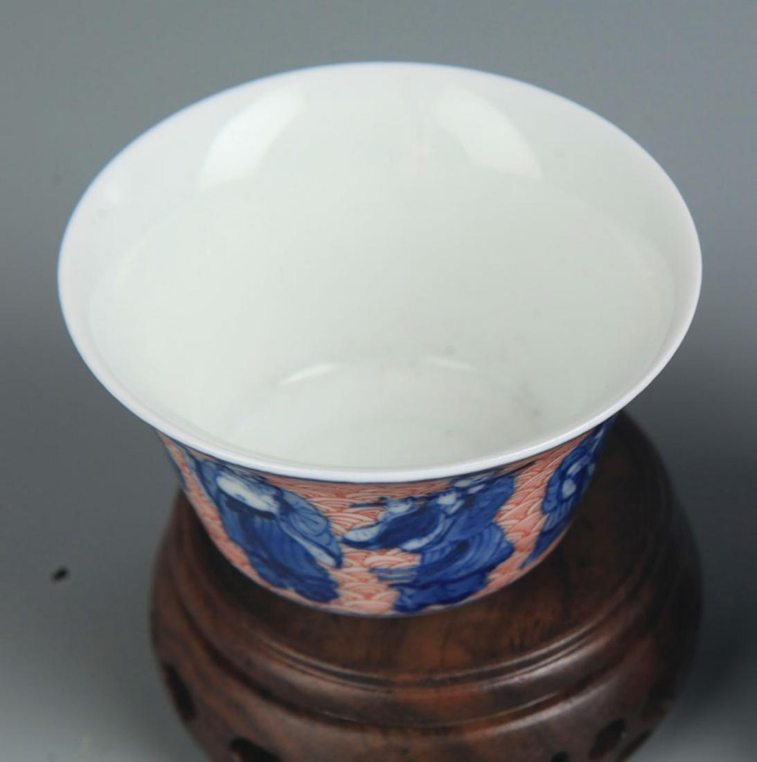 PARI OF ROUGE COLOR PAIR OF PORCELAIN CUP - 2