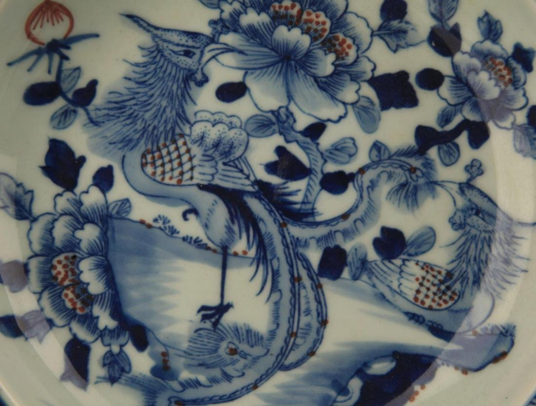 PAIR OF BLUE AND WHITE PAINTED PORCELAIN PLATE - 2