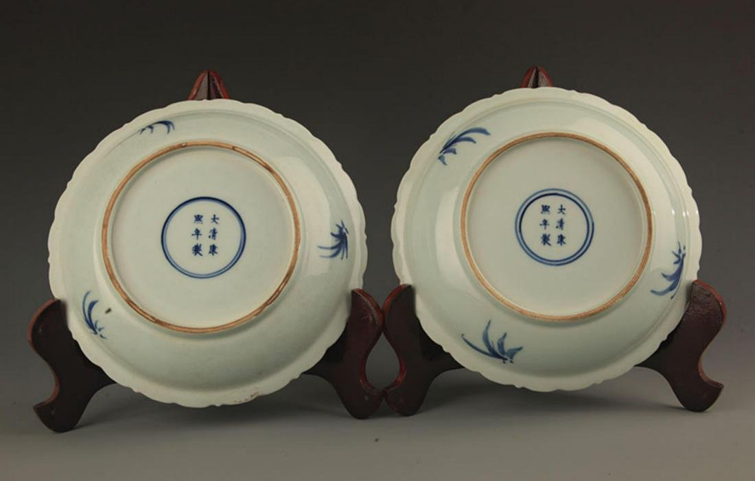 PAIR OF BLUE AND WHITE PAINTED PORCELAIN PLATE - 5