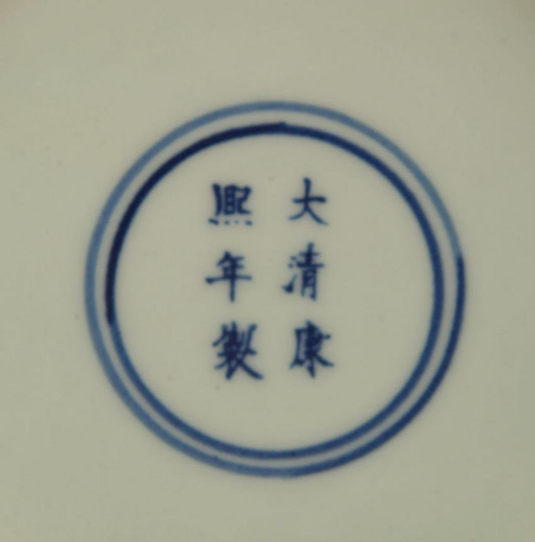 PAIR OF BLUE AND WHITE PAINTED PORCELAIN PLATE - 6