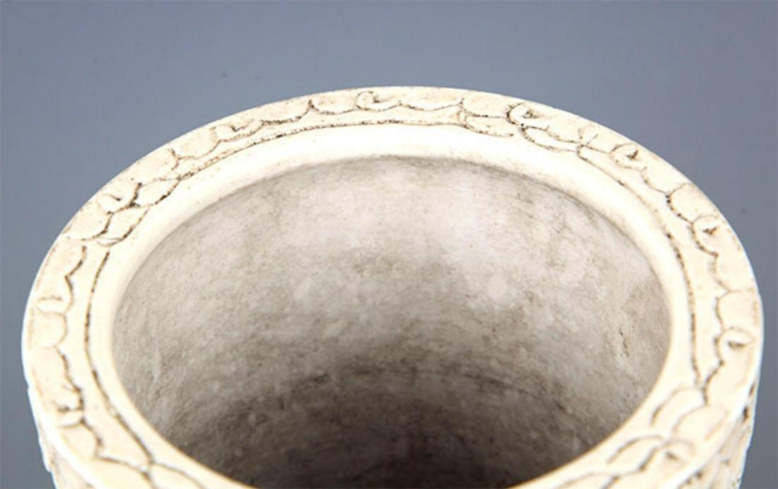 A WHITE COLOR GLAZED PORCELAIN BRUSH HOLDER - 3
