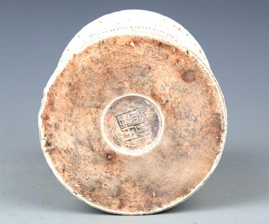 A WHITE COLOR GLAZED PORCELAIN BRUSH HOLDER - 6