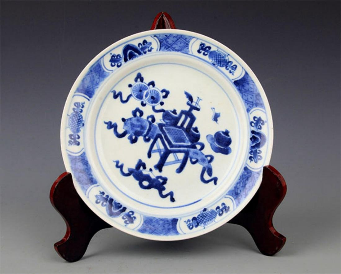 PAIR OF BLUE AND WHITE PORCELAIN PLATE - 8