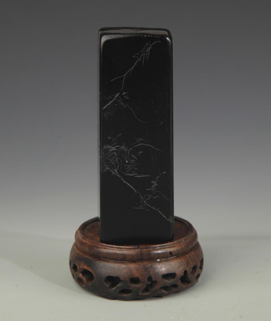 A FINE SOPESTONE POETRY CARVING SEAL - 2