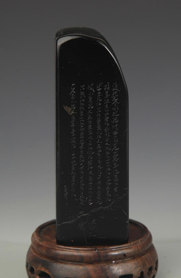 A FINE SOPESTONE POETRY CARVING SEAL - 4