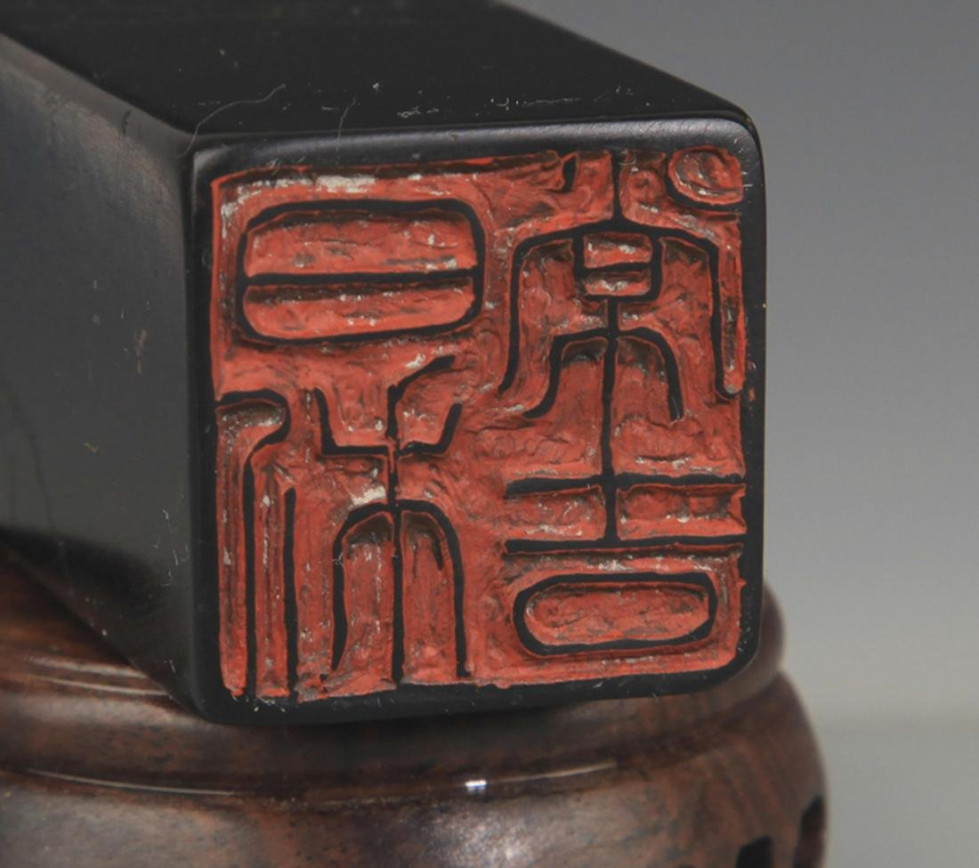 A FINE SOPESTONE POETRY CARVING SEAL - 5