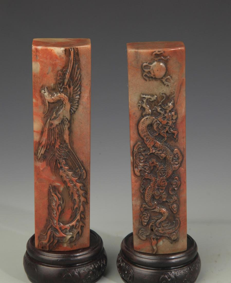 SOPESTONE DRAGON AND PHOENIX CARVING PAPER WEIGHT