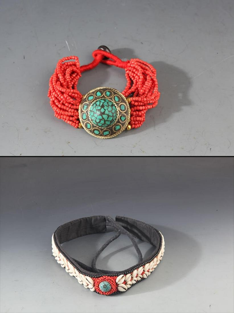 A CORAL HEADBAND AND CORAL BRACELETS