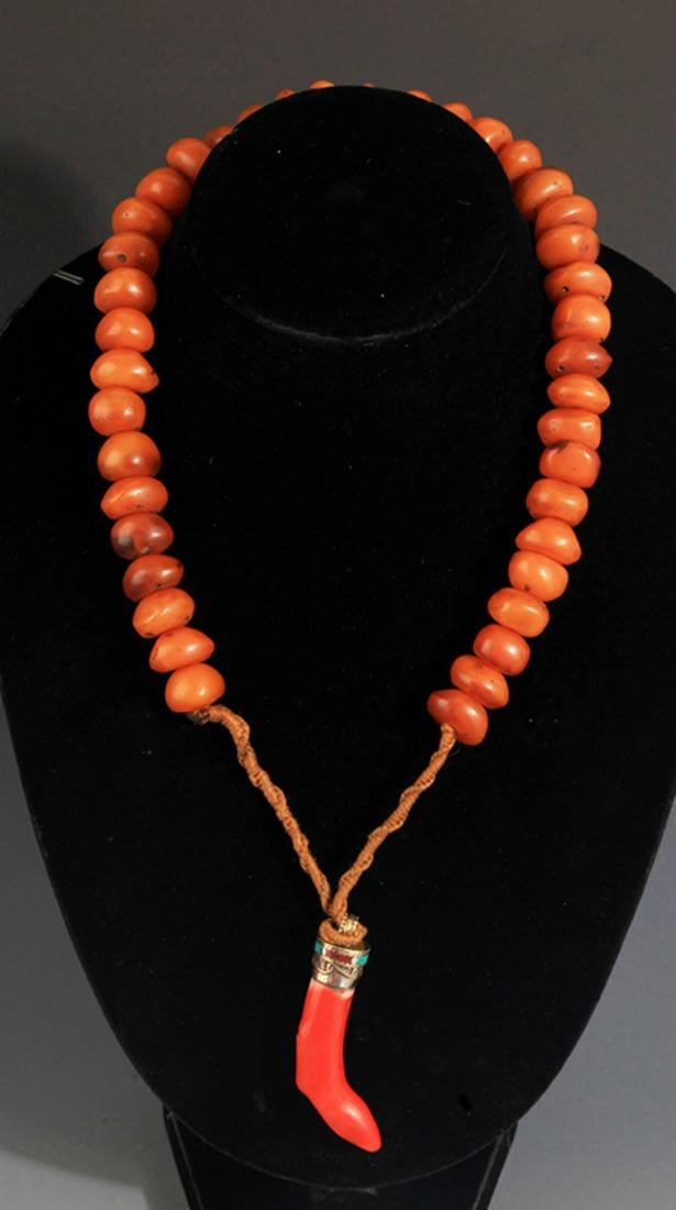TWO CHINESE NECKLACE, AGATE STONE AND MI LA - 4