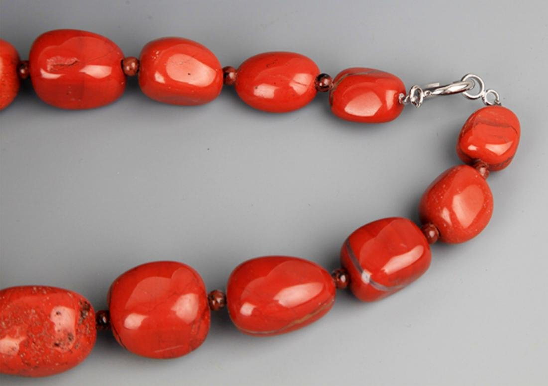TWO CHINESE NECKLACE, AGATE STONE AND MI LA - 5