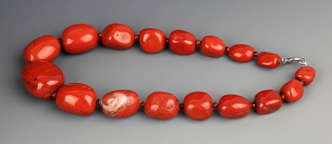 TWO CHINESE NECKLACE, AGATE STONE AND MI LA - 6