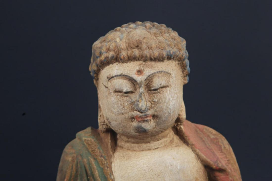 A FINELY COLORED WOODEN PHARMACIST BUDDHA - 2