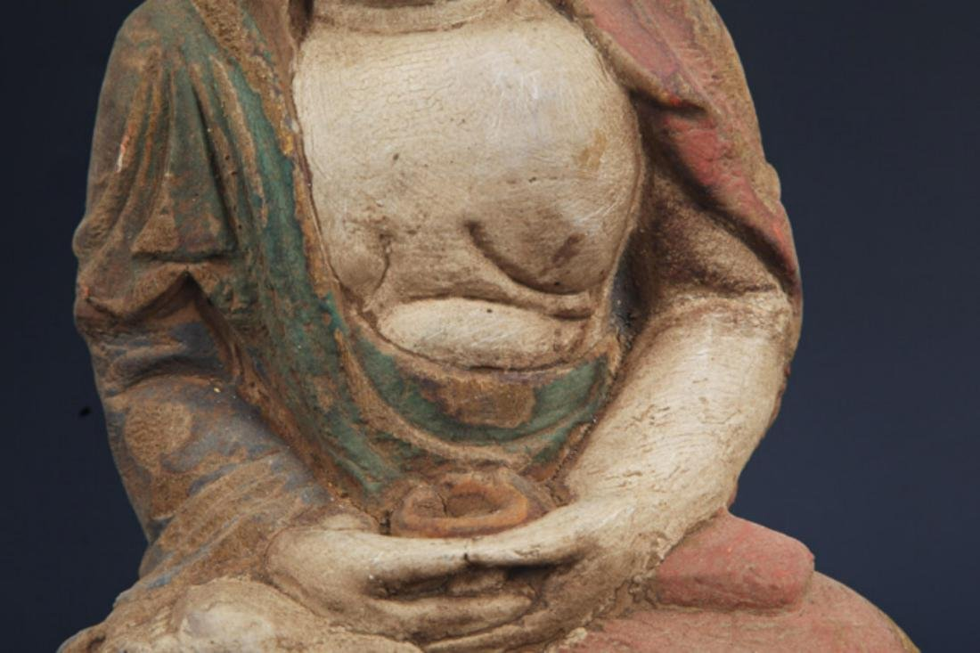 A FINELY COLORED WOODEN PHARMACIST BUDDHA - 3