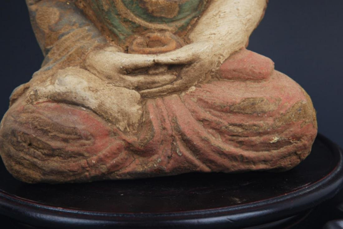 A FINELY COLORED WOODEN PHARMACIST BUDDHA - 4