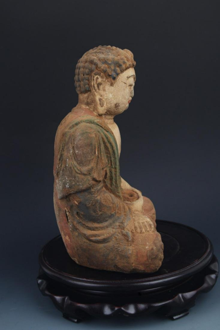 A FINELY COLORED WOODEN PHARMACIST BUDDHA - 5