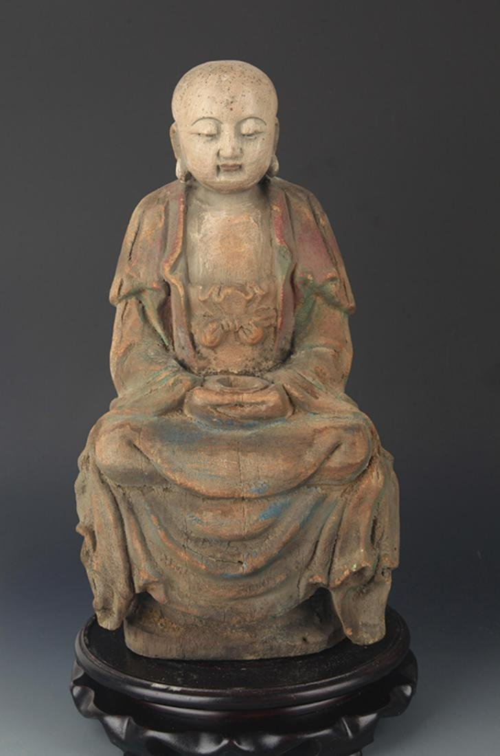 COLORED PAINTED WOODEN DAINICHI BUDDHA FIGURE