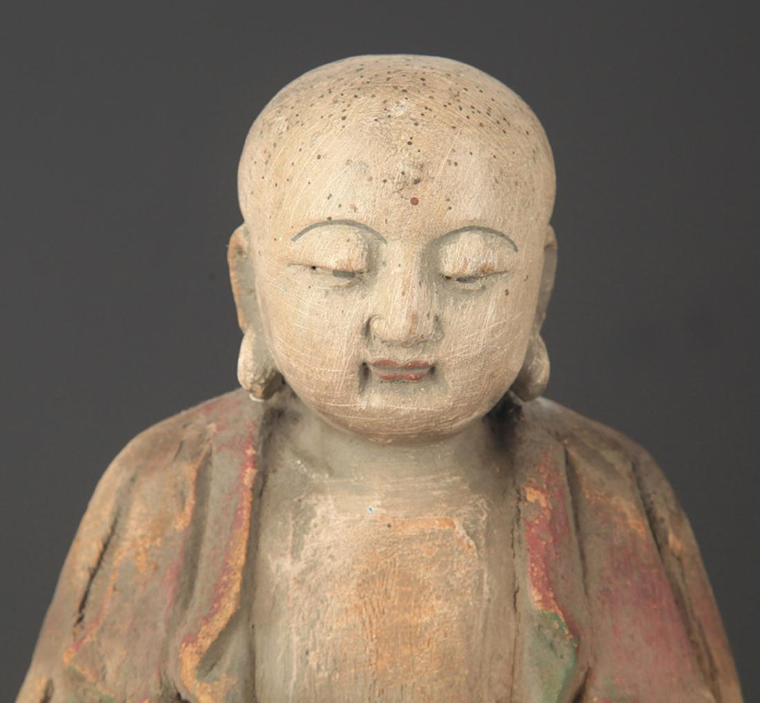 COLORED PAINTED WOODEN DAINICHI BUDDHA FIGURE - 2