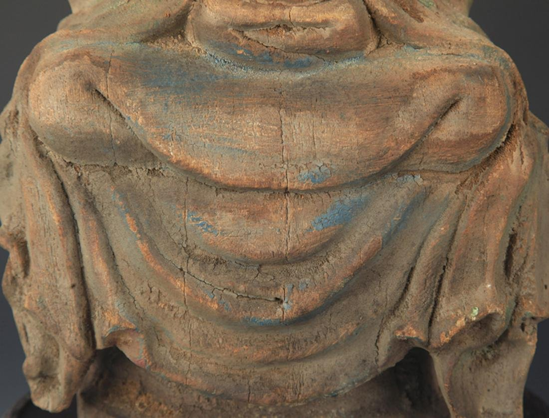 COLORED PAINTED WOODEN DAINICHI BUDDHA FIGURE - 3
