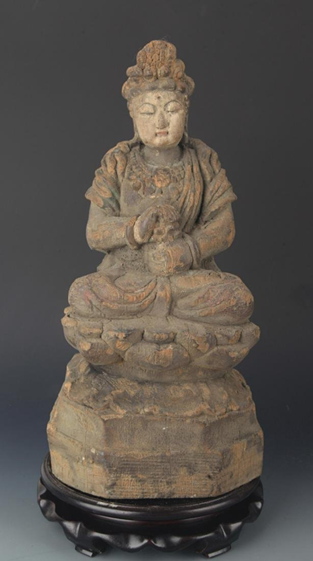 A FINELY COLORED WOODEN MANJUSRI BUDDHA FIGURE