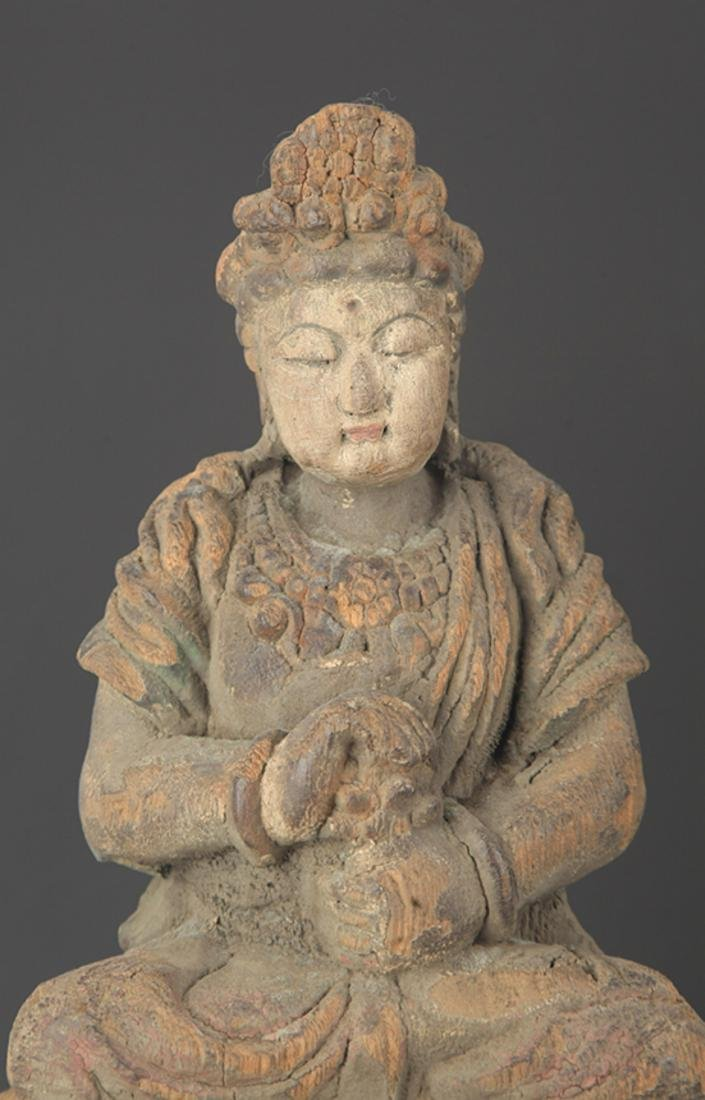A FINELY COLORED WOODEN MANJUSRI BUDDHA FIGURE - 2