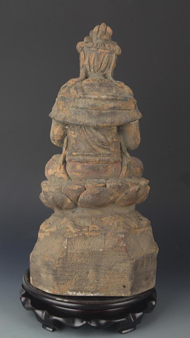 A FINELY COLORED WOODEN MANJUSRI BUDDHA FIGURE - 4